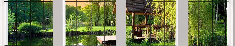 wandmotiv24 Pared Trasera de Cocina Vista de la Ventana 240 x 50 cm (W x H) - 3 mm de Espuma Protector de Salpicaduras de la Pared Posterior del nicho Reemplazo del