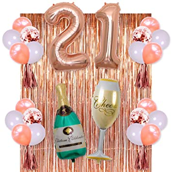 Rose Gold 21 Birthday Party Decorations Supplies Champagne Balloon21 BalloonsRose
