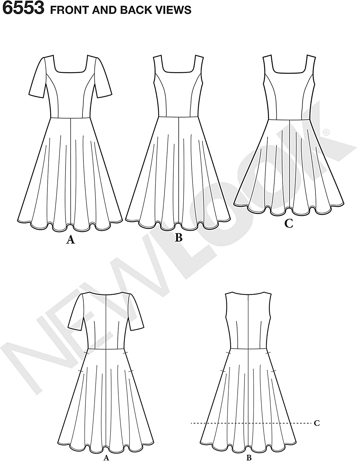 Size: A 6-8-10-12-14-16-18 NEW LOOK Sewing Pattern D0930 // 6553 Misses Dress in Two Lengths