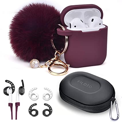 finest selection 49c4f c522f Airpods Accessories Set, Filoto Airpods Waterproof Silicone Case Cover with  Pompom/Keychain/Strap/Earhooks/Accessories Storage Travel Box for Apple ...