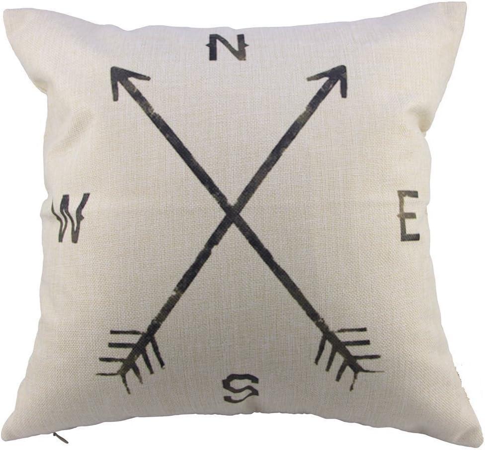 Leaveland Cotton Linen Square Decorative Throw Pillow Case Cushion Cover Compass (16