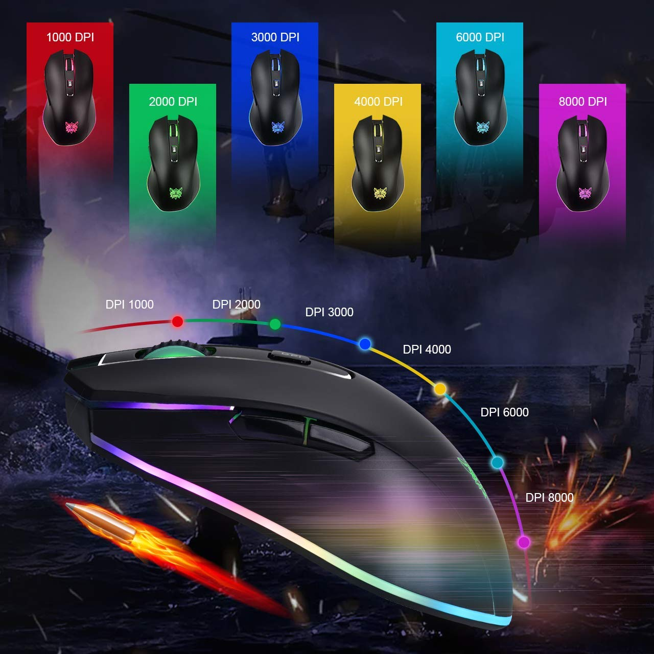 ONIKUMA Wired Gaming Mouse with 8000 DPI /& 6 Programmable Buttons /& Tunable RGB Breathing Lights PC Laptop Computer Gaming Mice Comfortable USB Gamer Mice for Windows 7//8//10//XP Vista Mac Linux