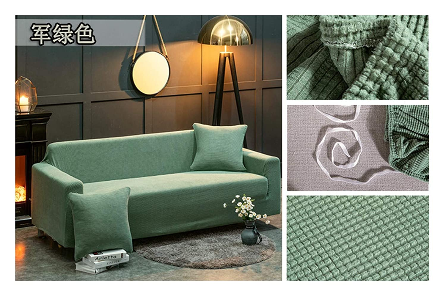 3seat VGUYFUYH Military Green Slip-Proof Sofa Cover Polyester Full Package Elasticity Home Universal Sofa Cover Simple Fashion One Piece Durable Dust-Proof Pet Dog Predective Cover,3Seat