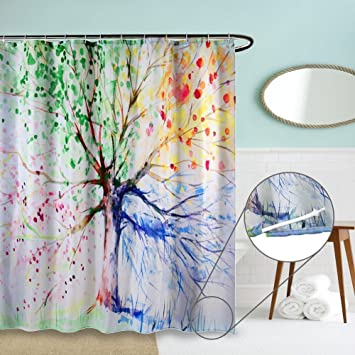 Duschvorhang überlänge duschvorhang anti schimmel zszt 3d druck water tinte bunten baum
