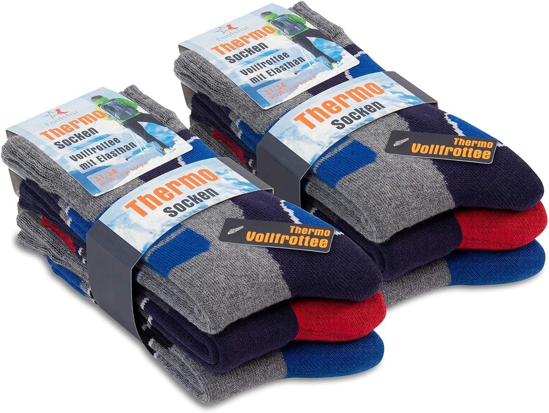 Footstar 6 Paar Kinder Frottee-Socken mit Thermo-Effekt