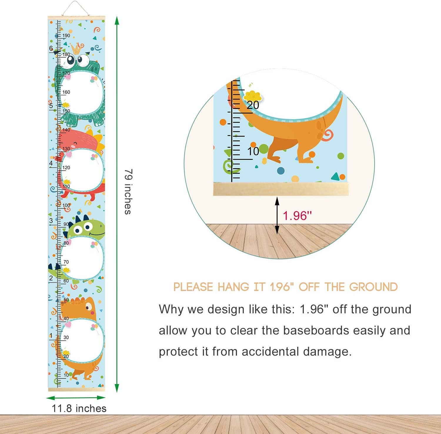 Sylfairy Growth Chart for Boys Girls Kids Wall Ruler Height Ruler for Children Removable Height Chart Cartoon Growth Ruler Measuring Kids Height Wall Room Decoration 797.9(Aninmal B