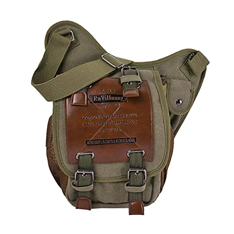 6f77c8257407 Mens Boys Vintage Canvas Shoulder Military Messenger Bag Sling School Bags  - Unisex Sports Shoulder Bag