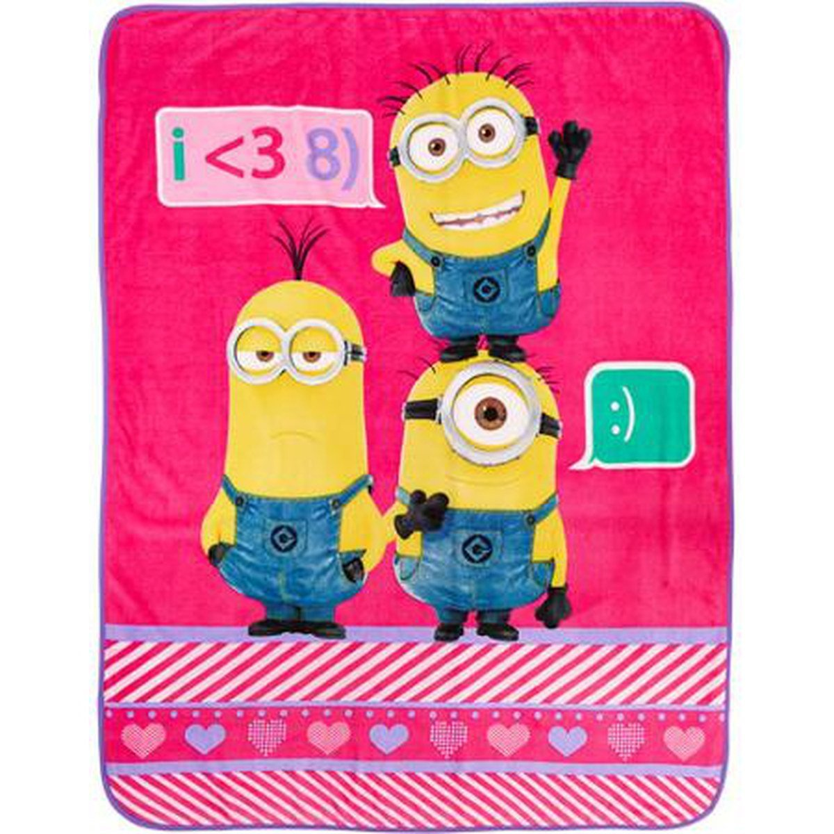 Despicable Me Minions Girls Plush Pink Throw - 117 cm x 152 cm Franco Manufacturing Co. Inc. A3191W