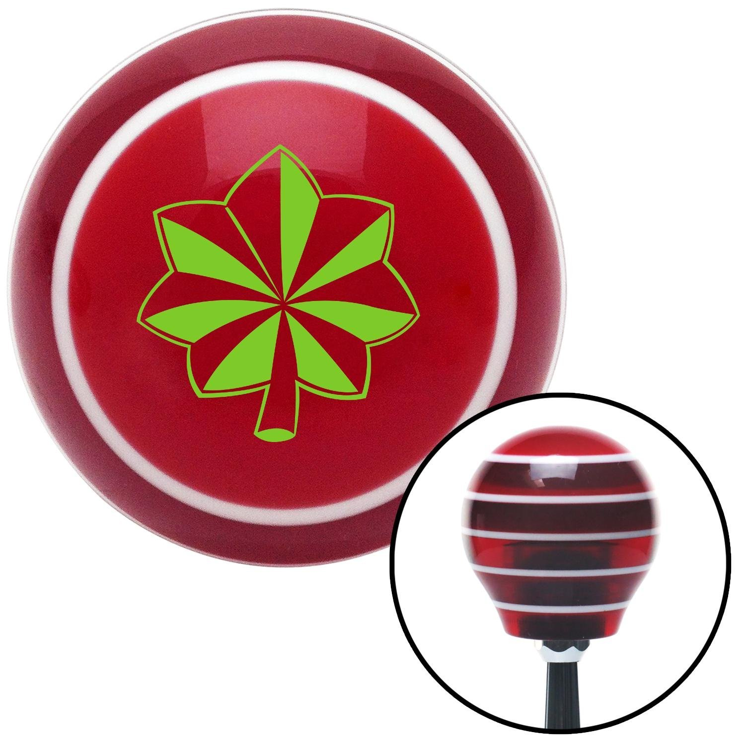 Green Commander American Shifter 115491 Red Stripe Shift Knob with M16 x 1.5 Insert
