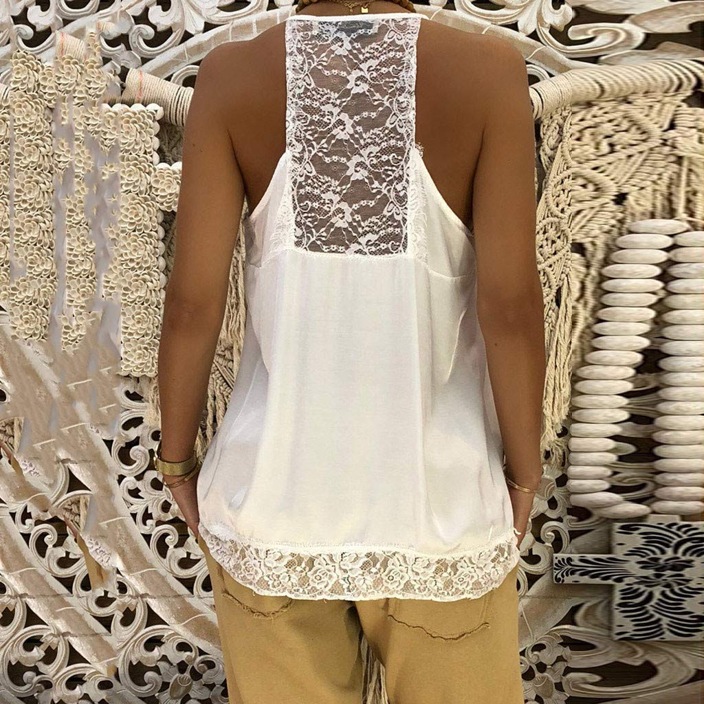 NUWFOR Women Ladies Solid Sexy Lace Patchwork Insert V-Neck Sling Loose Tank Top Blouse(White,US XS Bust:31.4'') by NUWFOR (Image #3)