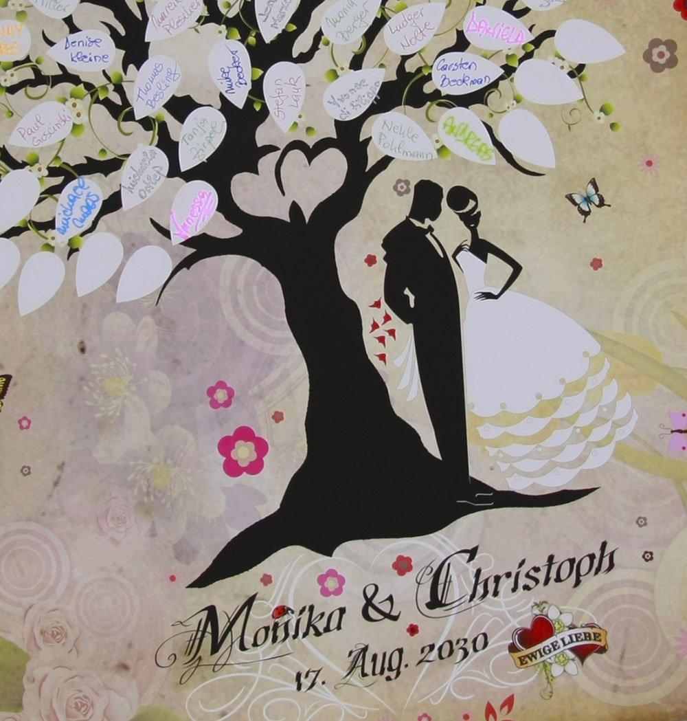Märchenhochzeit grün Hochzeit Fingerabdruck Baum Unterschrift