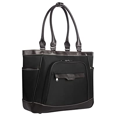 free shipping CoolBELL Women Tote Bag 15.6 Inch Laptop Shoulder Bag With Removable Laptop Compartment Leisure Handbag Top-handle Briefcase With Functional Pockets (Black)