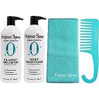 Original Sprout Classic Shampoo & Deep Conditioner 32oz Set For Babies & Up 100% Vegan Includes FREE Shower Comb…