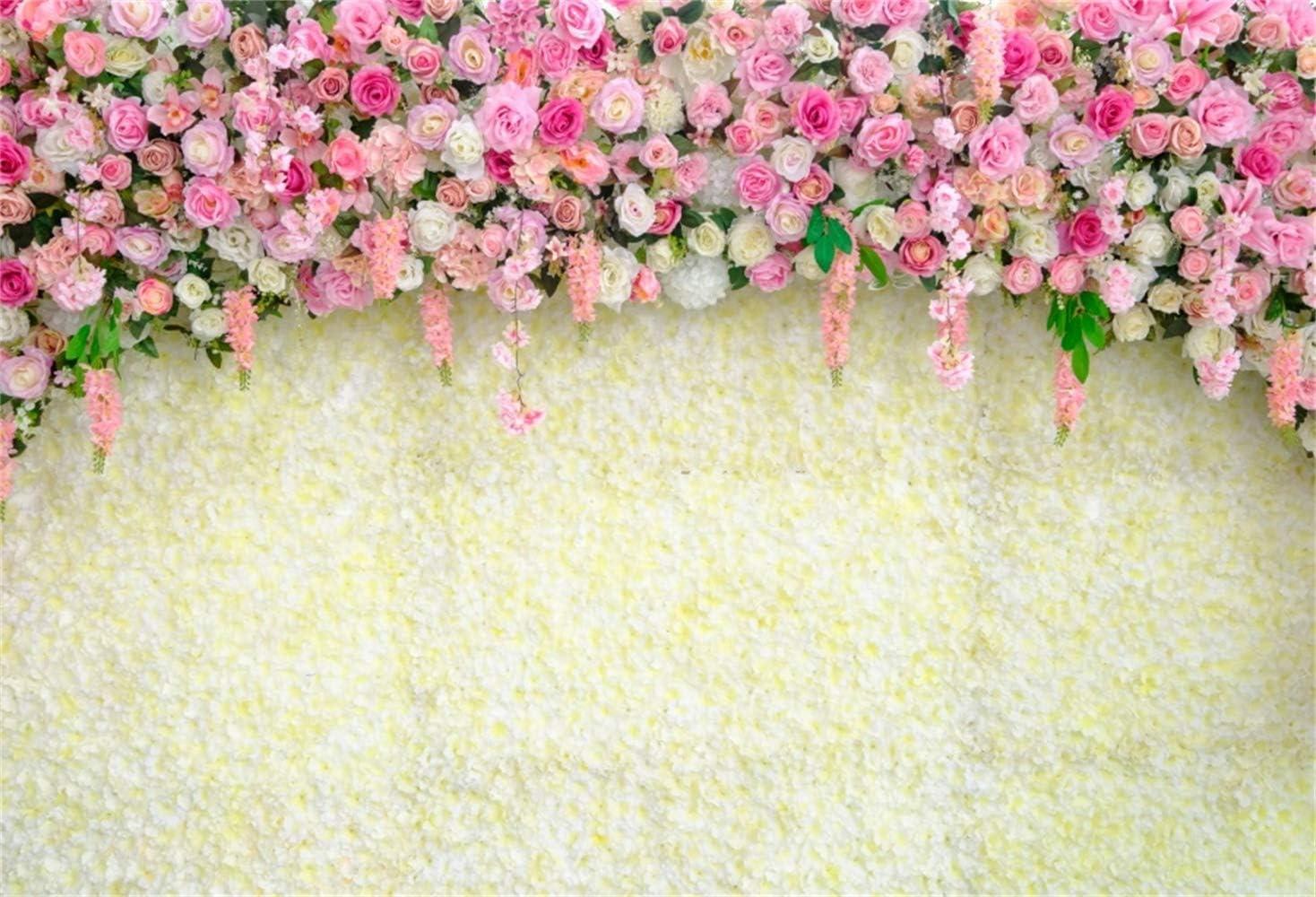 Paper Flower Backdrop for Photography Polyester 8x6.5ft White Green Flowers Wall Bridal Shower Birthday Party Banner Studio Newborn Kids Children Portrait Shoot Wallpaper
