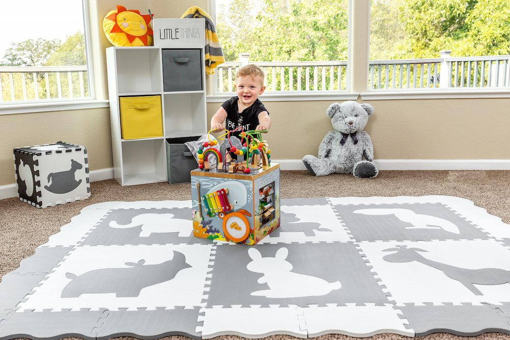 Large (5x7') Baby Play Mat with Interlocking Foam Floor Tiles. Neutral, Non Toxic Baby Playmat for Nursery, Playroom or Living Room (Grey and White) by Wee Giggles (Image #9)