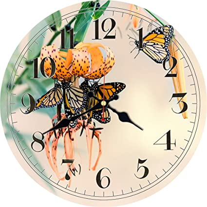MEISTAR Battery Operated, Non-Ticking Wooden Wall Clock With chicken/dog/butterfly