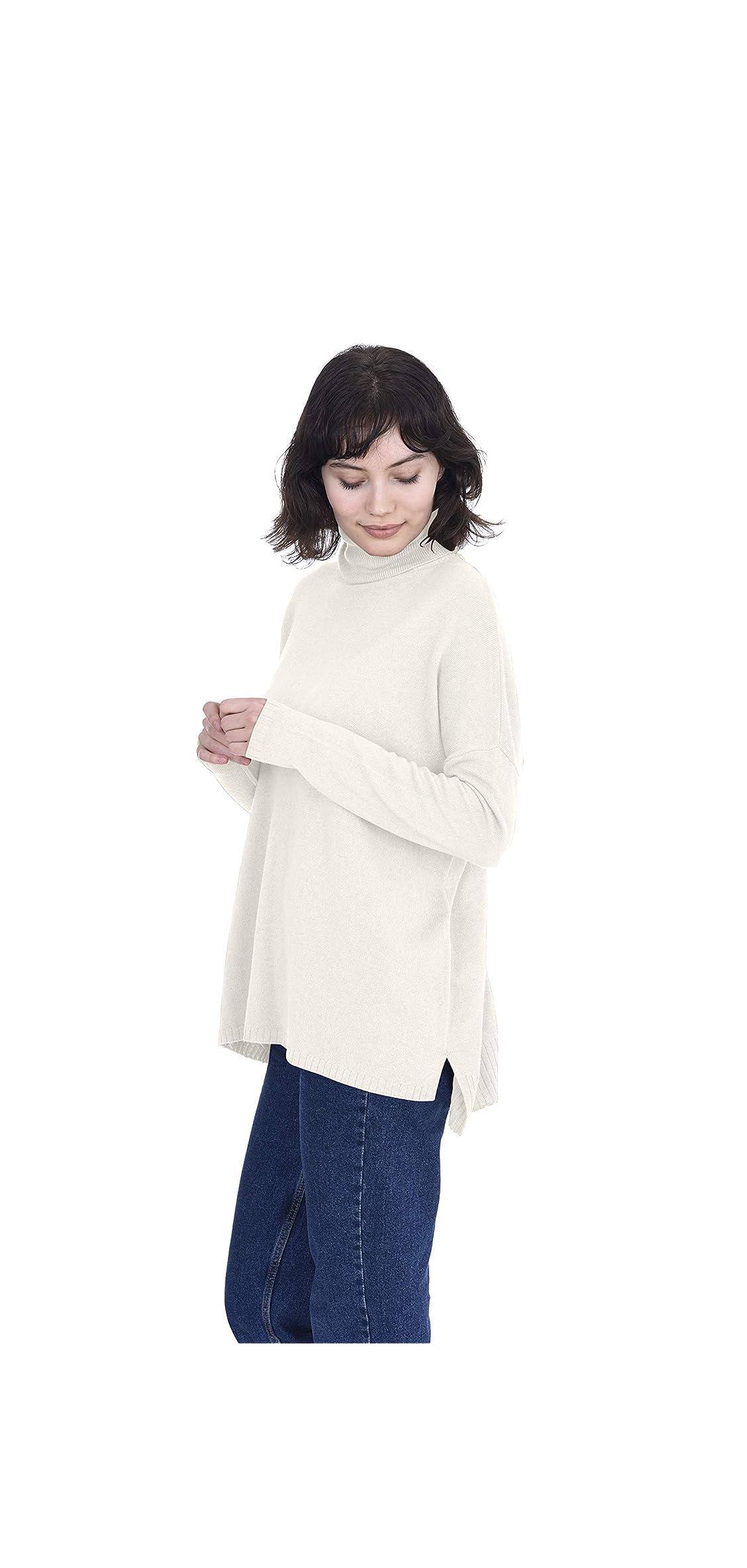 Oversized Tunic Side Slits Turtleneck Pullover