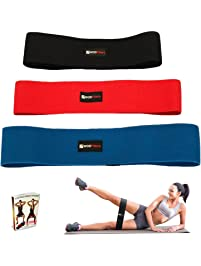 WODFitters Hip Resistance Bands - Fabric Hip Bands - Cotton Non-Slip Hip Thruster Loop Band Set - for Glute Activation...