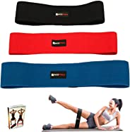 WODFitters Hip Resistance Bands - Fabric Hip Bands - Cotton Non-Slip Hip Thruster Loop Band Set - for Glute Activation, Booty Exercise and Fitness Workout