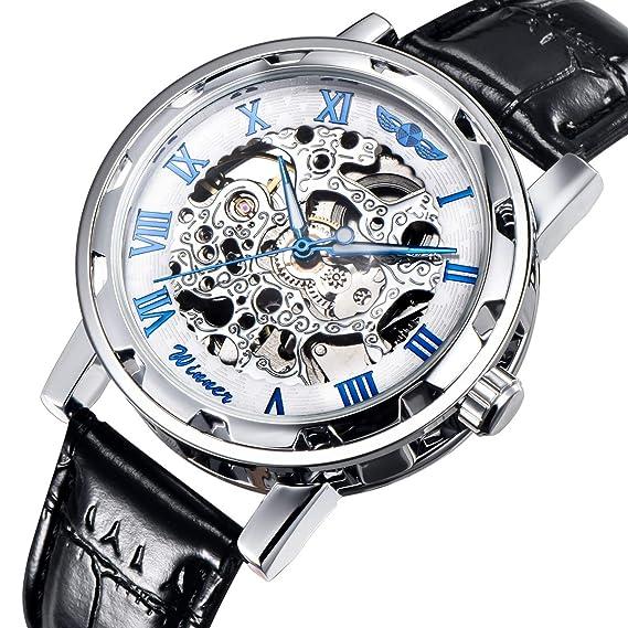 GuTe clásico de vapor Punk automático Auto viento muñeca reloj negro esqueleto Dial negro plata reloj
