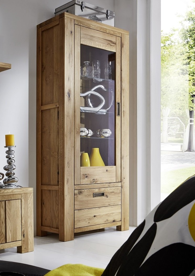 Vitrine Schrank 'Moderna' Wildeiche geölt massiv Holz