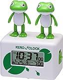 リズム時計 おもしろ アクション 目覚まし キャラクター 時計 デジタル ケロクロック2 緑 RHYTHM 8RDA46RH03