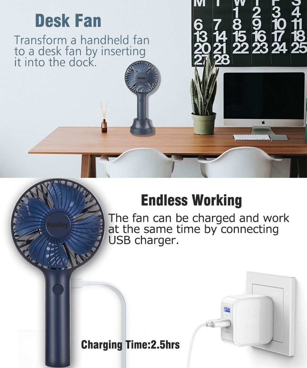 HonHey Handheld Fan Portable, Mini Hand Held Fan with 2000mAh LG Battery, 3 Speeds Personal Desk Table Fan with Base, 7-10 Hours Battery Operated Handheld Fans for Women Girls Kids Outdoor and Indoor