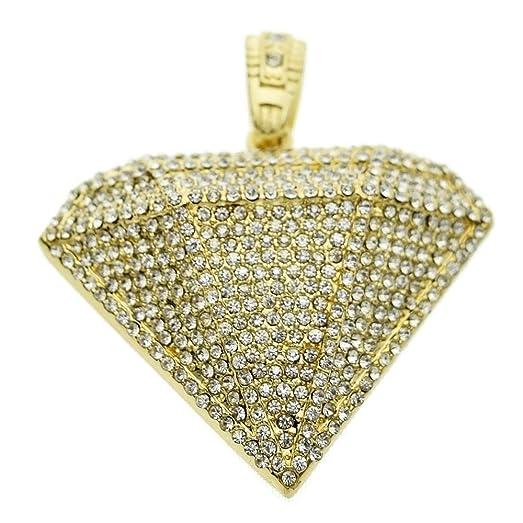 Amazon diamond shape pendant hip hop iced out bling gold plated diamond shape pendant hip hop iced out bling gold plated chunky hiphop charm aloadofball Images