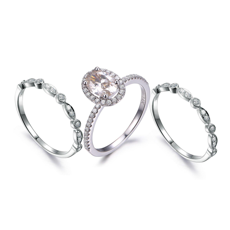 Amazon Com Myraygem Wedding Ring Sets 14k White Gold Half Eternity