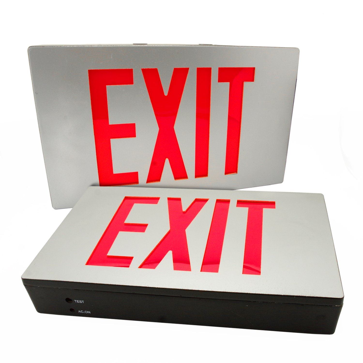 eTopLighting [2-Pack] Die Cast Exit Sign LED Light Panel, Aluminum Brushed with Red Lettering, Wall and Ceiling Mount with Battery Back-Up, AGG2733