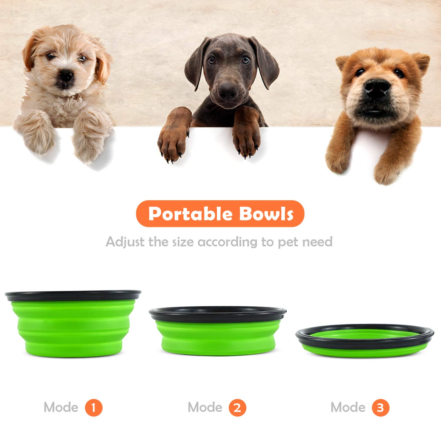 ZukoCert Dog Water Bottle Pet Food Container 2-in-1 with Collapsible Travel Dog Bowls Slow Feeder Outdoor Drinking Cup Portable Dog Feeder(White_No.2)