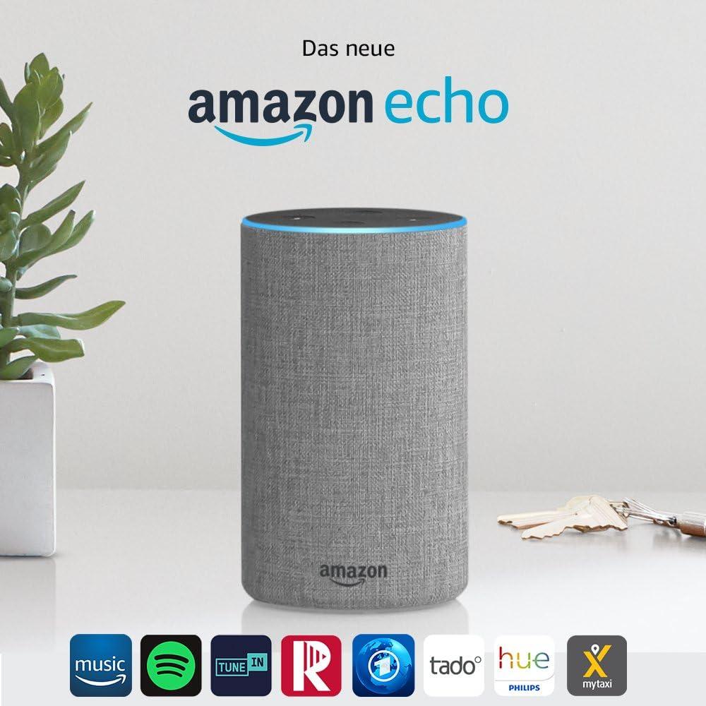 Amazon Echo, Zertifiziert und generalüberholt, (2. Generation), Hellgrau Stoff