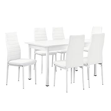 [en.casa]®] Juego de Comedor - Mesa Blanca 140cm x 60cm x 75cm + sillas  Blancas 96 cm x 43cm