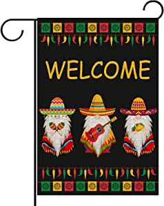 Sunwer Cinco De Mayo Gnome Garden Flag 12.5×18 Vertical Double Sized Mexican Holiday Celebration Yard Sign Mexican Fiesta Party Outdoor Yard Lawn Decoration