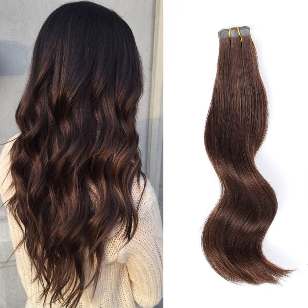 Abh Amazingbeauty Hair Semi-Permanent Real Remi Remy Human Hair Extensions Tape On 50G 20Pcs Tape Attached Skin Weft Invisible Seamless Reusable Dark Brown Color 3 22 Inch