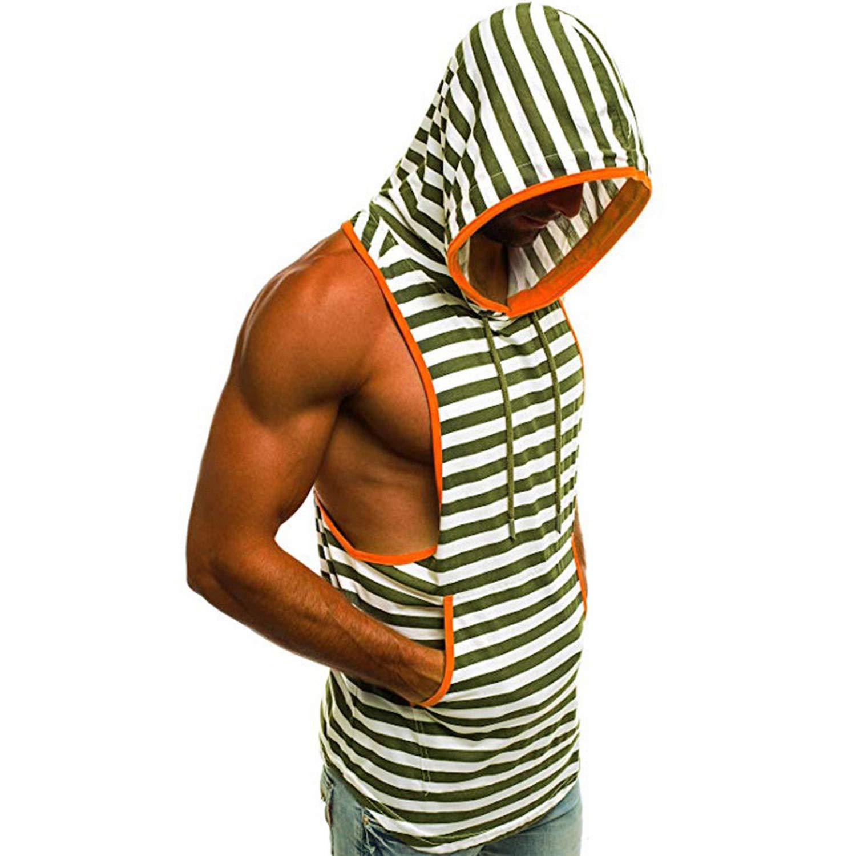 2019 Mens Summer Casual Stripe Print Hooded Sleeveless Tank Top Vest,Orange,L,United States