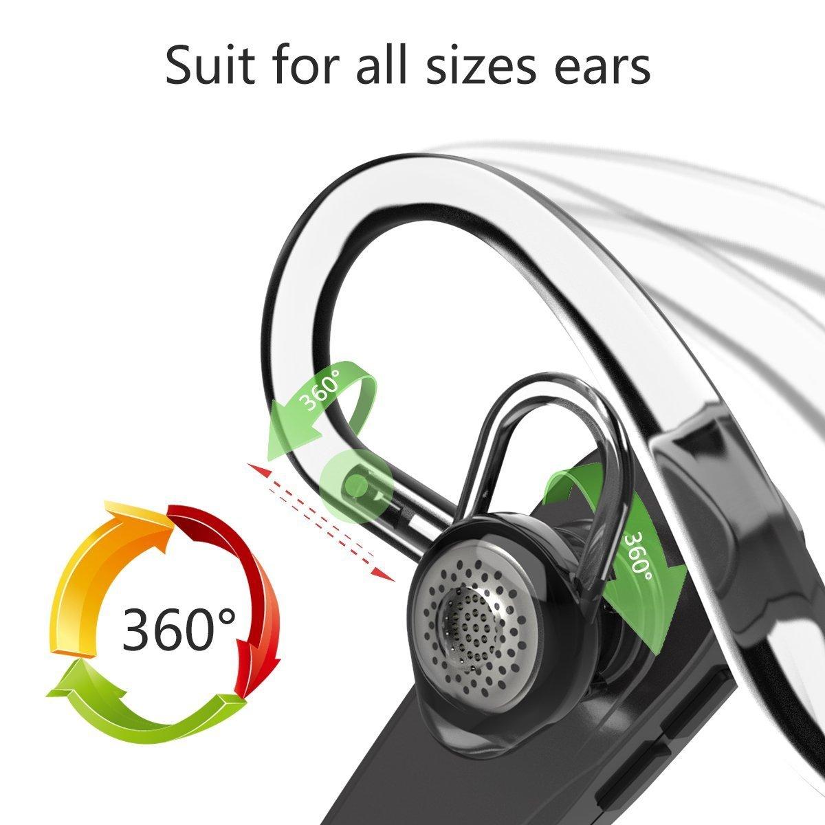 Headset Bluetooth, Drahtloses Bluetooth Headset Handy V4.1 freisprechanlage bluetooth ohr Handfreies Ohrhörer mit Mute Ohrhörer mit Mikrofon für Auto/LKW Fahrer Headsets für iphone Samsung