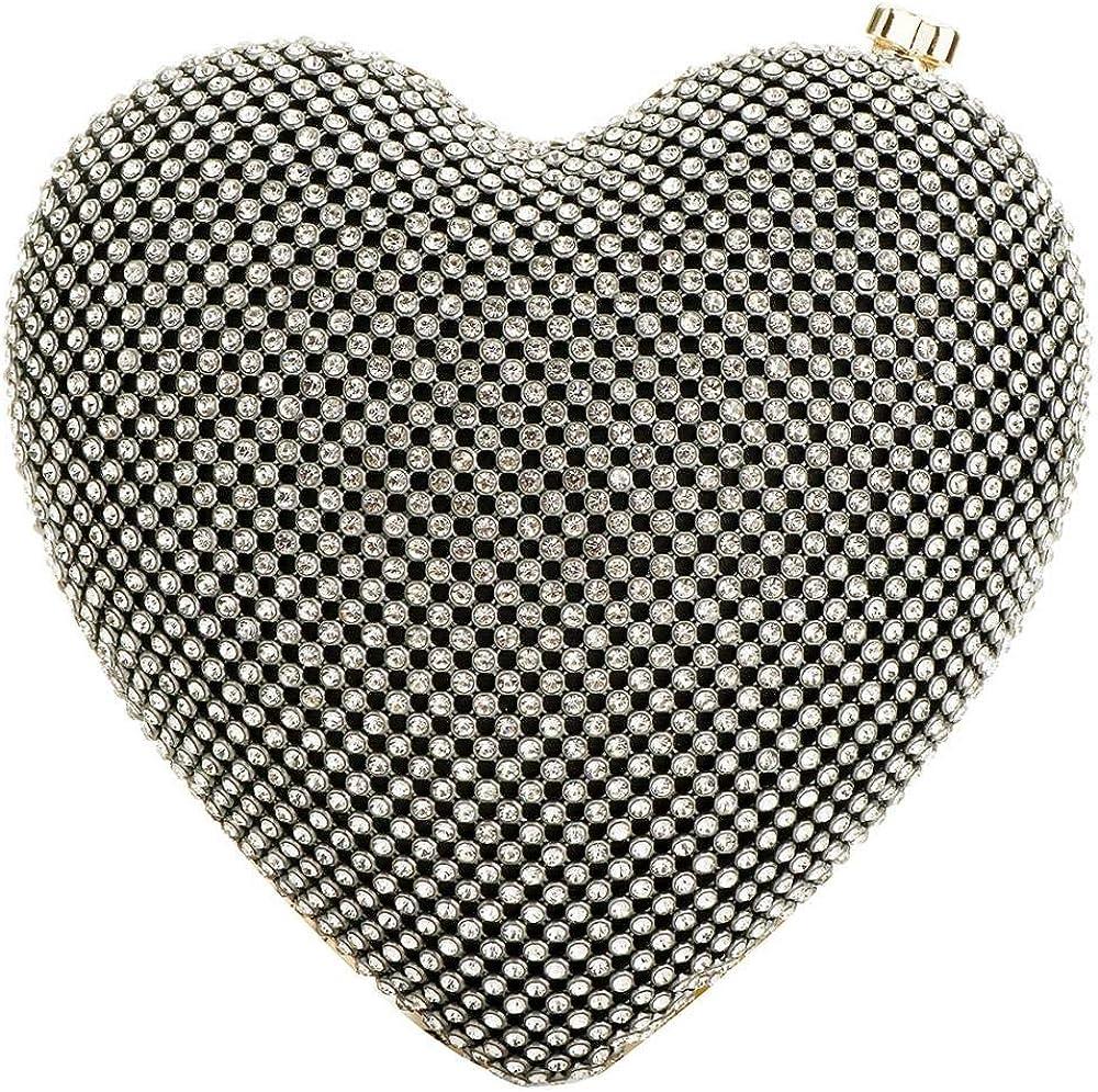 EROUGE Cute Heart Shape Clutch Purses Women Rhinestone Clutch Evening Bag