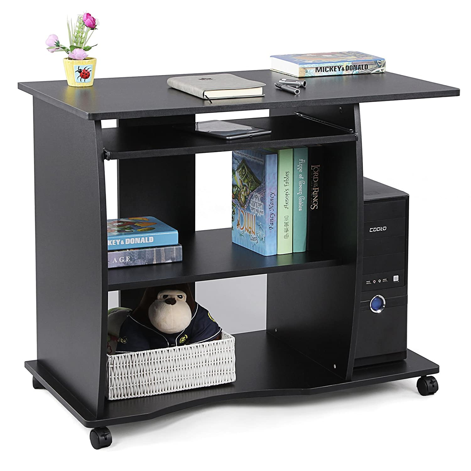 Bureau informatique mdf table bureau avec 4 roulettes for Bureau 90 cm de long