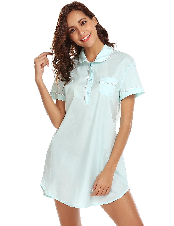 Kisshes Women Short Sleeve Nightdress Cotton Pajama Oversized Boyfriend Shirt  Dress Buttoned Sleepwear with Pockets  Amazon.co.uk  Clothing f3bf401d7