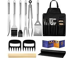 Veken BBQ Grill Accessories, Stainless Steel BBQ Tools Set for Men & Women Grilling Utensils Accessories with Storage Apron G