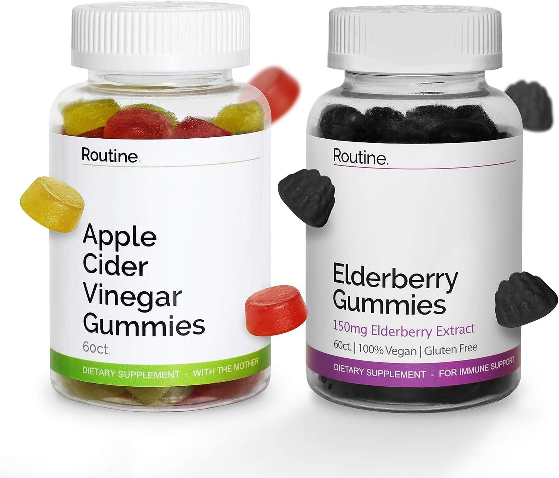 Apple Cider Vinegar + Elderberry Gummies, ACV with Mother for Weight Loss, Better Digestion Elderberry Gummies with Zinc and Vitamin C, 60 Immunity Gummies Each Bottle, 2 Bottles - Routine