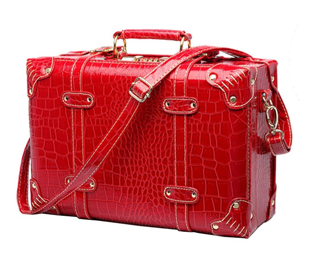Shiqin Womens PU Leather Wedding Suitcase Retro Luggage - 22''Red