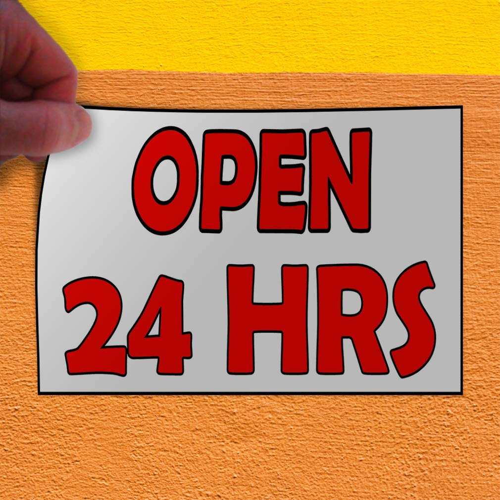 27inx18in Decal Sticker Multiple Sizes Open 24 Hrs White Red Business Open Outdoor Store Sign White Set of 5
