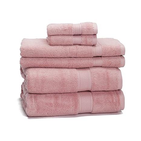 Juego de toallas de 6 piezas en algodón egipcio de 900 gramos, rosa palo