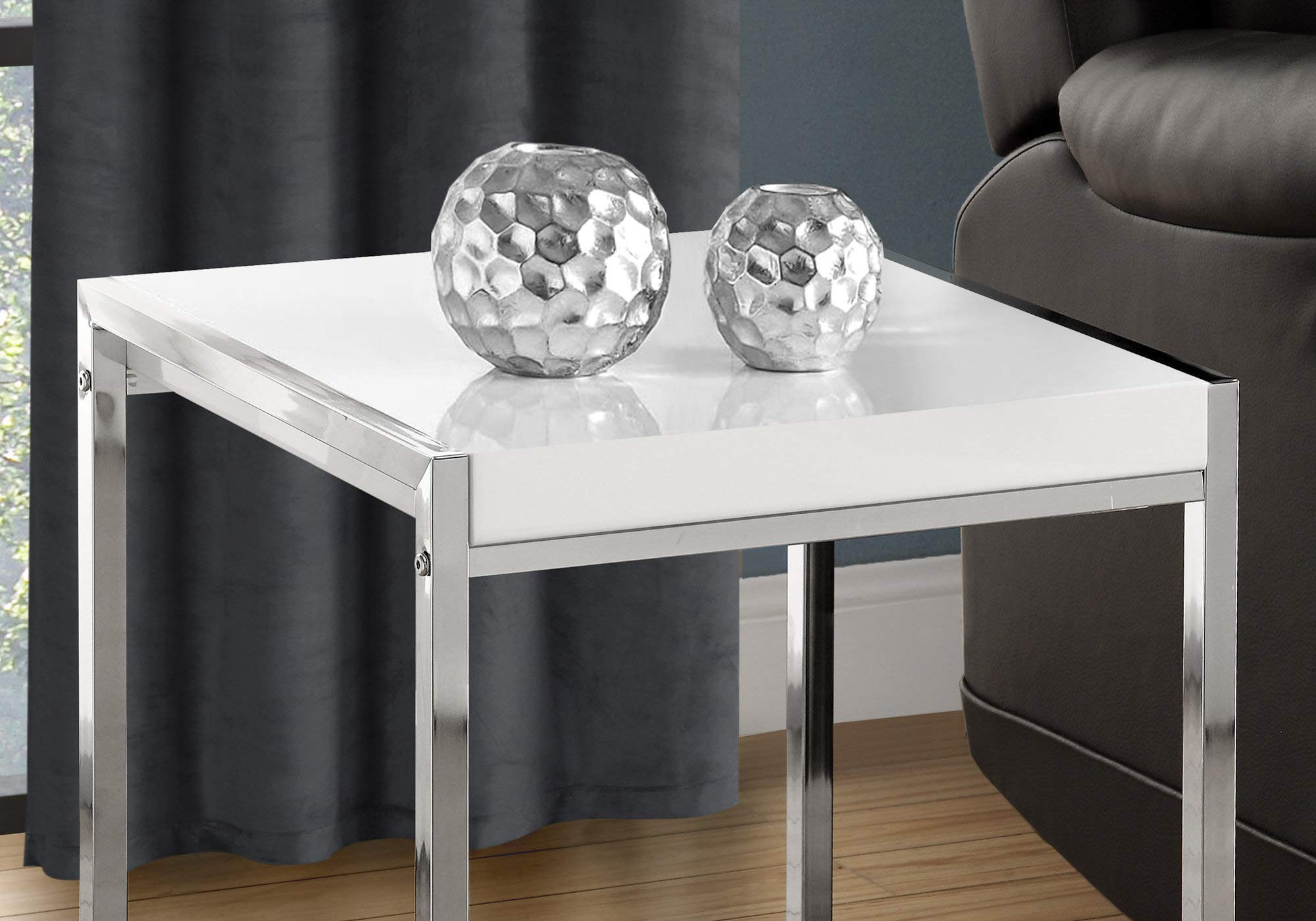 Monarch I 3050 Metal Accent Table, White Acrylic/Chrome by Monarch Specialties (Image #6)