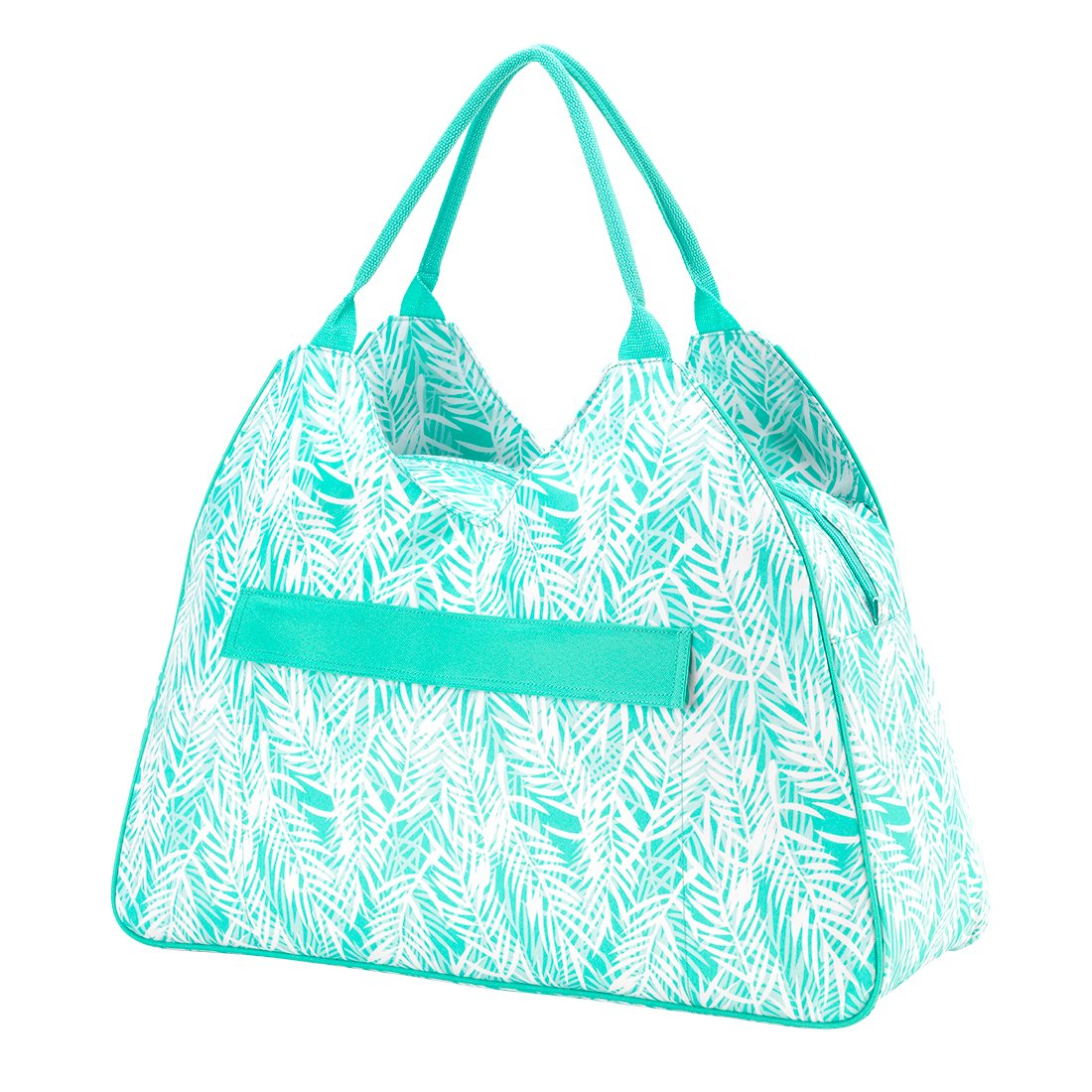 Monogrammed Poolside Palm High Fashion Print Water Resistant Large Beach Bag Tote with Zipper Top