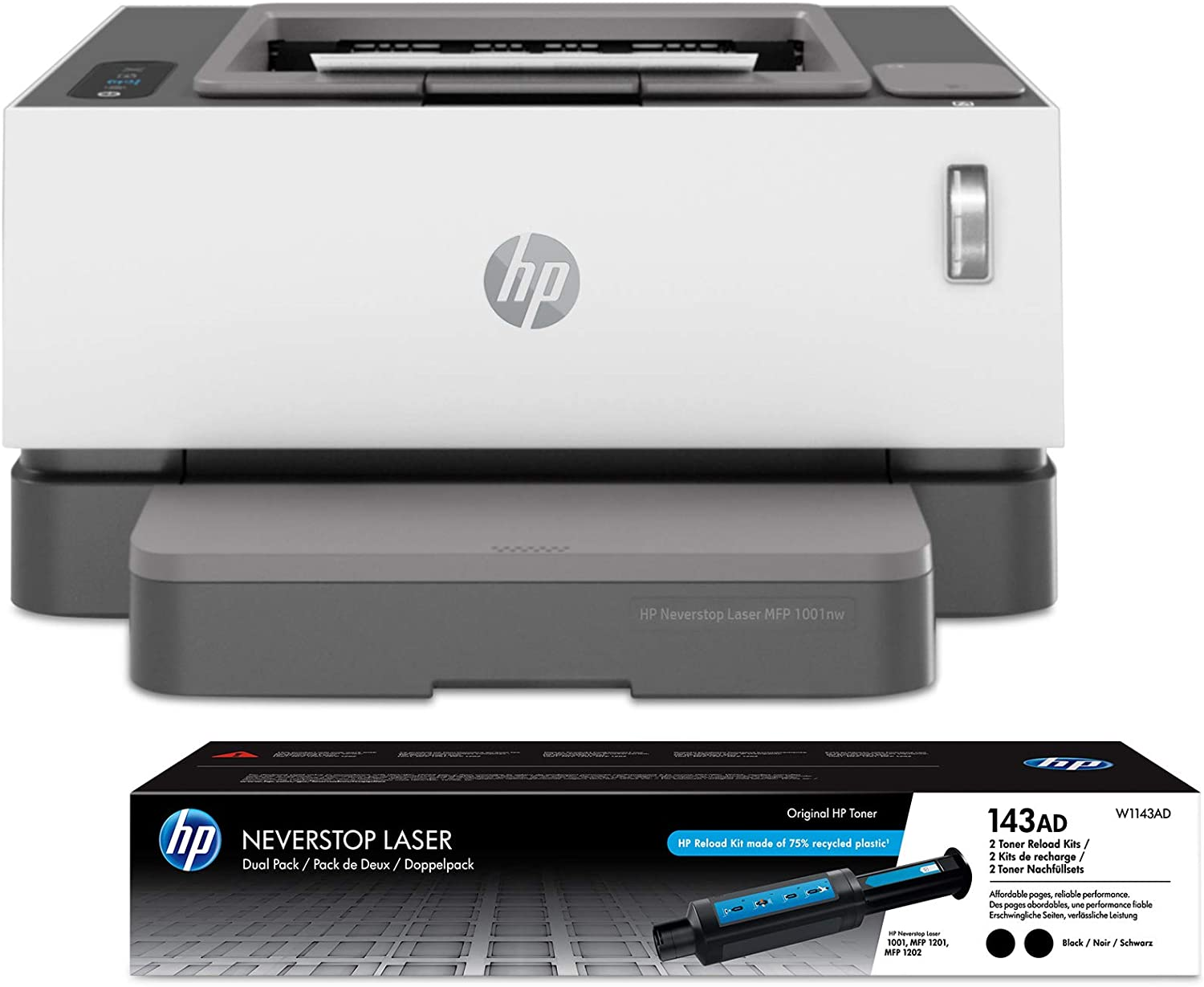 HP Neverstop Laser Printer 1001nw | Wireless Laser with Cartridge-Free Monochrome-Toner-Tank (5HG80A) with-Toner Reload-Kit 2-Pack