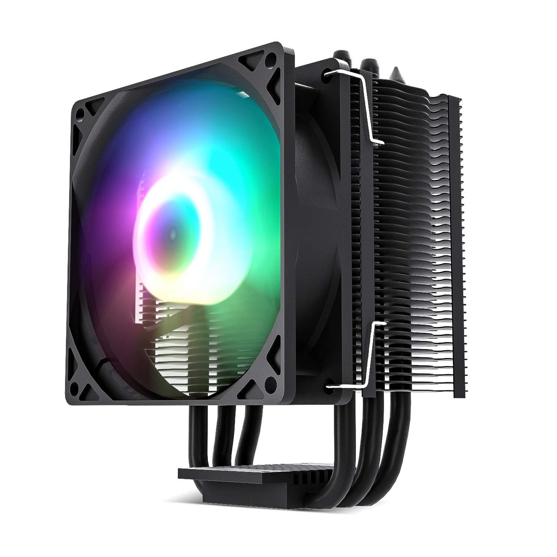 Vetroo V3 Black CPU Cooler with 92mm CPU Cooling Fan and 3 Direct Contact CPU Heatsink Pipes 125W TDP Support Intel i3/i5/i7 CPU Socket LGA1200/775/1366/1150/1151/1155/1156 & AMD CPU