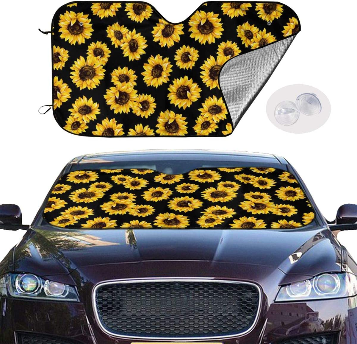 KZEMATLI Sunflower Field Car Windshield Sun Shade Easy to Use Fits Windshields of Various Sizes 51 X 27 Inch Blocks UV Rays Sun Visor Protector Sunshade to Keep Your Vehicle Cool and Damage Free